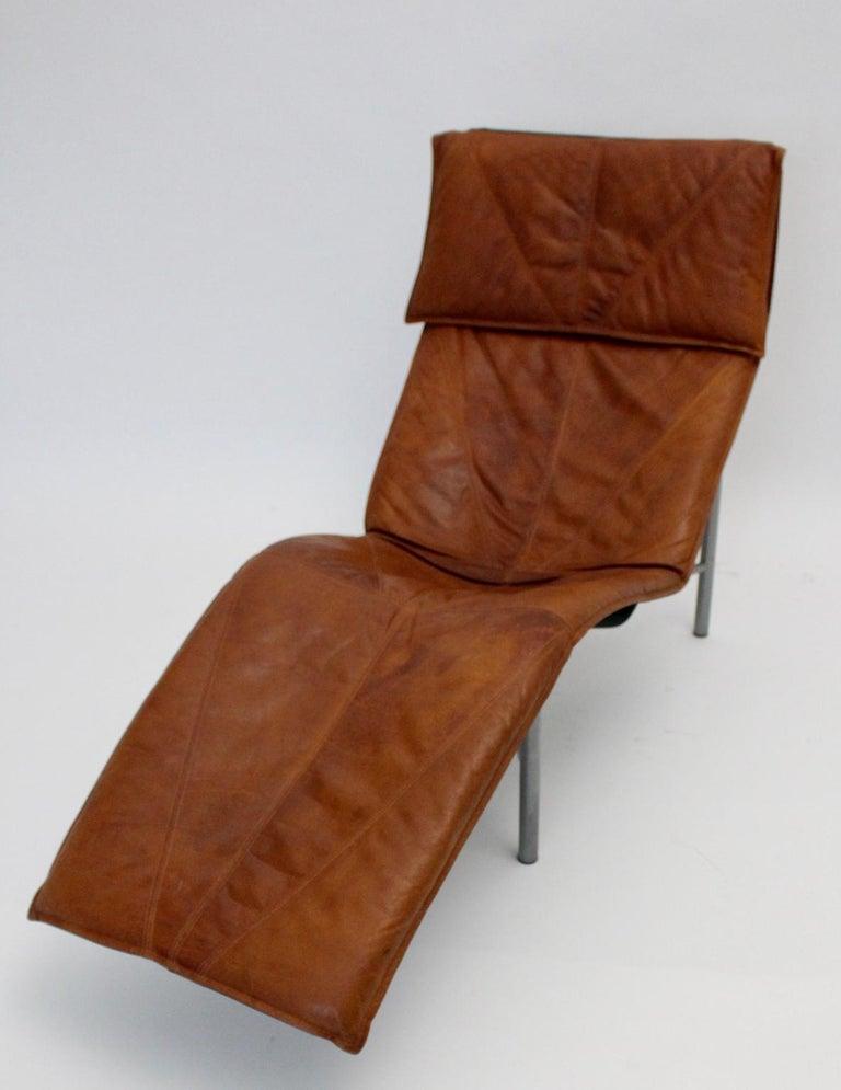 Vintage Cognac Leather Chaise Longue by Tord Bjorklund Sweden, 1970 For Sale 3