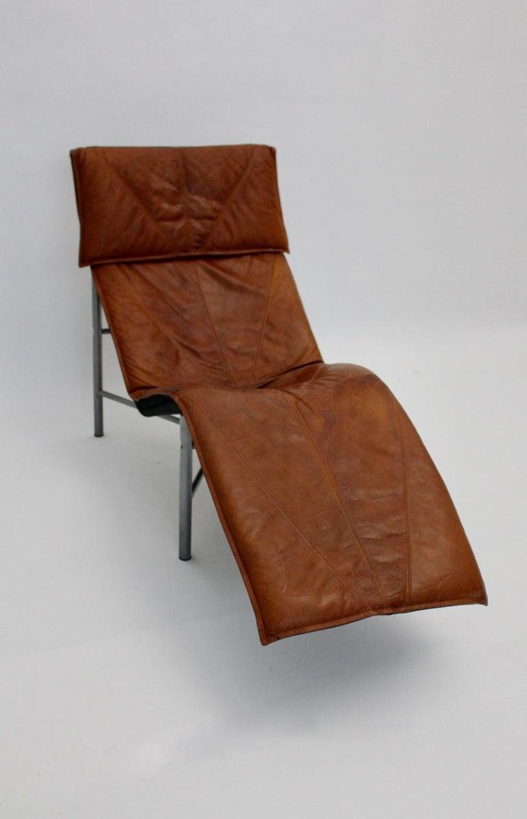 Vintage Cognac Leather Chaise Longue by Tord Bjorklund Sweden, 1970 For Sale 4