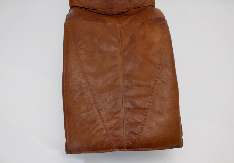 Vintage Cognac Leather Chaise Longue by Tord Bjorklund Sweden, 1970 For Sale 5