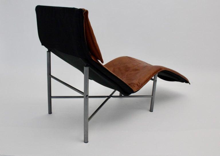 Vintage Cognac Leather Chaise Longue by Tord Bjorklund Sweden, 1970 For Sale 7