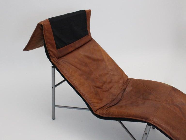 Vintage Cognac Leather Chaise Longue by Tord Bjorklund Sweden, 1970 For Sale 9