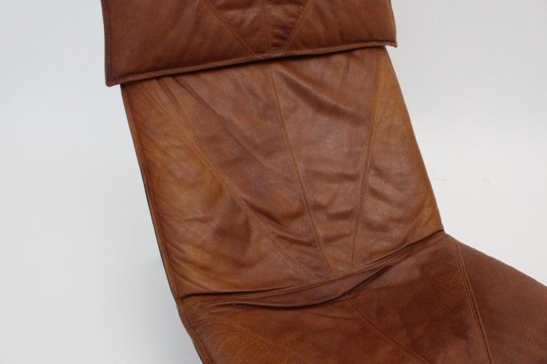 Vintage Cognac Leather Chaise Longue by Tord Bjorklund Sweden, 1970 For Sale 10