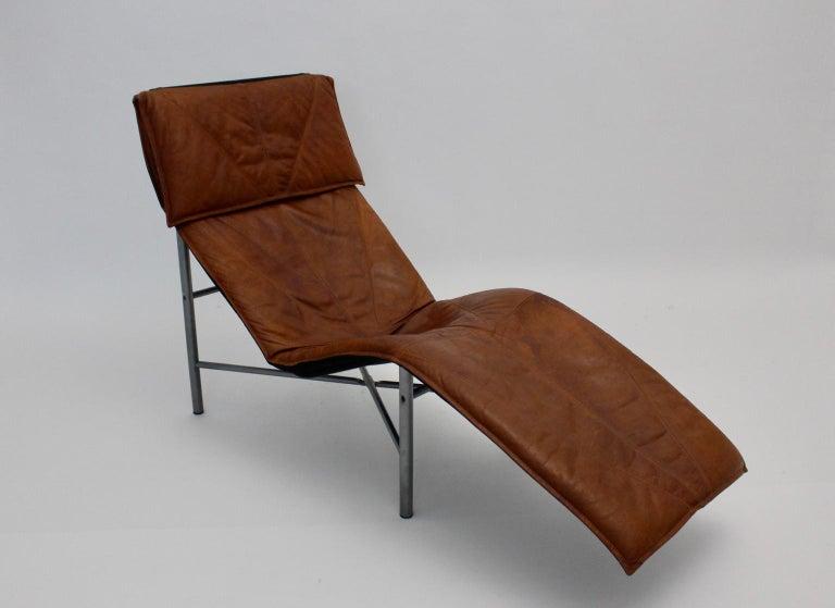 Vintage Cognac Leather Chaise Longue by Tord Bjorklund Sweden, 1970 For Sale 1