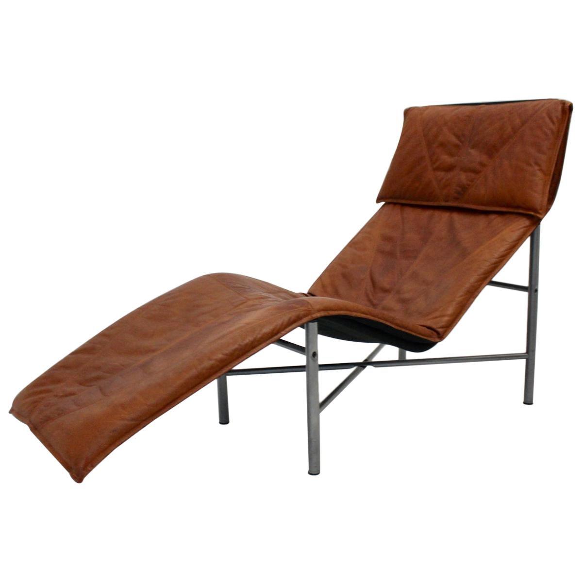 Vintage Cognac Leather Chaise Longue by Tord Bjorklund Sweden, 1970