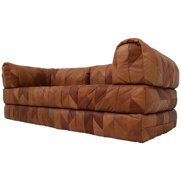Vintage Cognac Leather Patchwork Daybed And Sofa For Sale