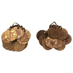 Vintage coin charms clip on earrings