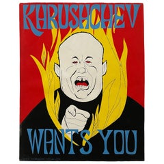"Vintage Cold War Propaganda Poster ""Khrushchev Wants You"" by Rolly Crump"