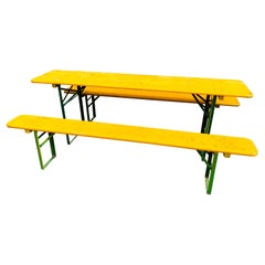 Vintage Collapsable German Beer Garden Table and Bench Set, in Yellow
