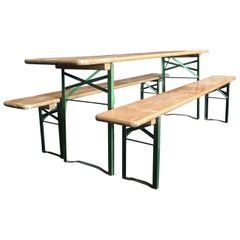 Vintage Collapsible German Beer Garden Table and Bench Set