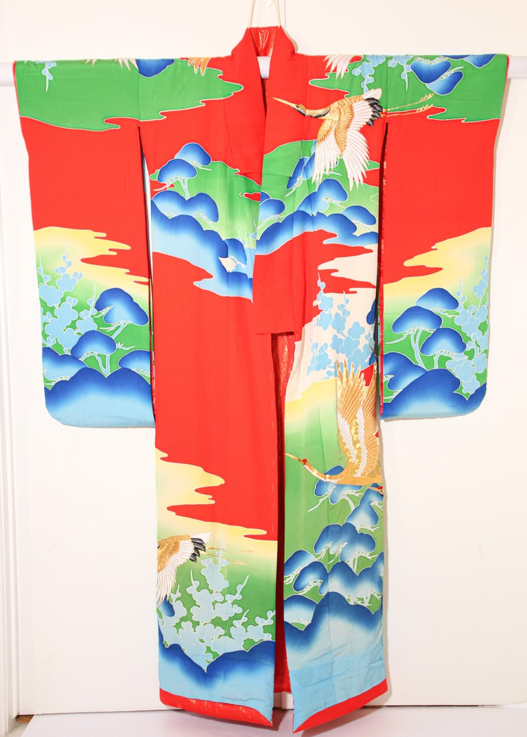 Embroidered Vintage Collectable Japanese Ceremonial Kimono For Sale