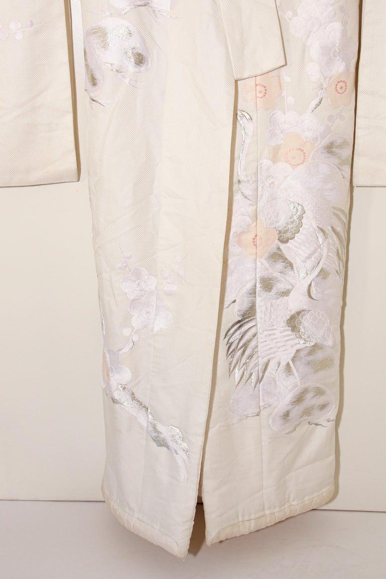 Vintage Collectable Japanese White Silk Ceremonial Wedding Kimono For Sale 9