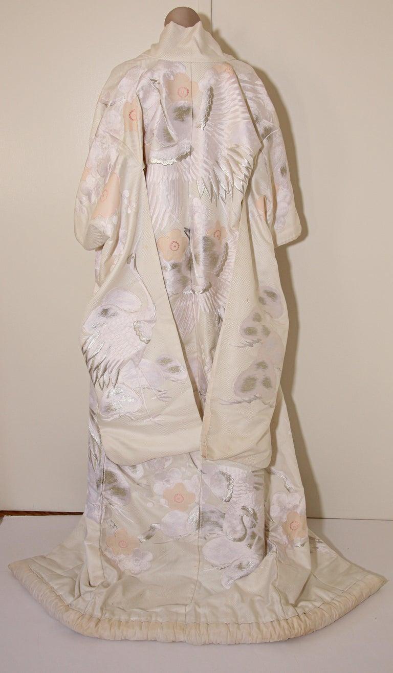 Japonisme Vintage Collectable Japanese White Silk Ceremonial Wedding Kimono For Sale