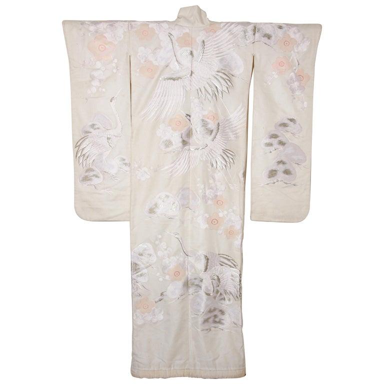 Vintage Collectable Japanese White Silk Ceremonial Wedding Kimono For Sale