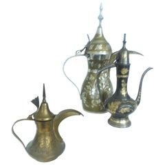Vintage Collection of Decorative from Middle East Dallah Coffee Pots