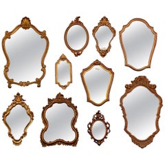 Vintage Collection of Florentine Style Mirrors, Set of 10