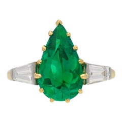 Vintage Colombian Emerald and Diamond Ring, English, circa 1950