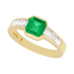 Vintage Colombian Emerald and Diamond Yellow Gold Dress Ring, Circa 1980