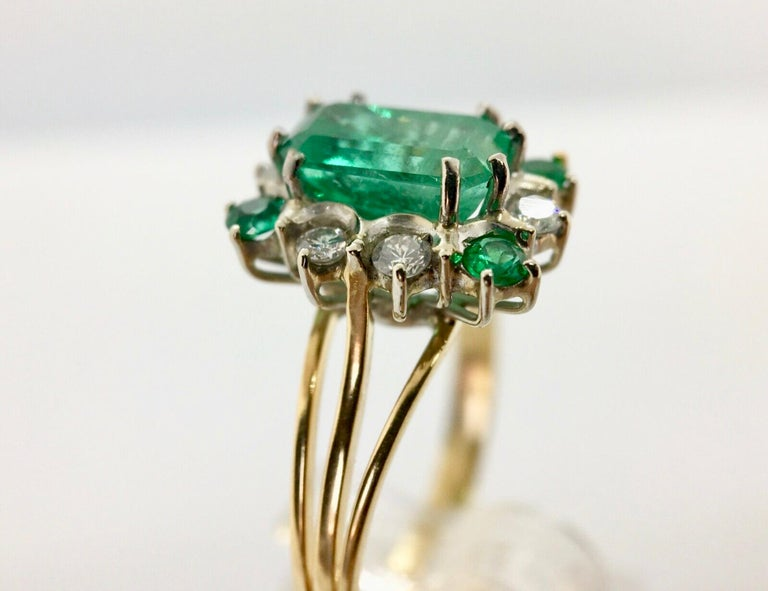 Emerald Cut Vintage Colombian Emerald Solitaire Ring with Accents 18 Karat For Sale