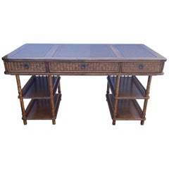 Vintage Colonial Style Faux Bamboo Writing Desk