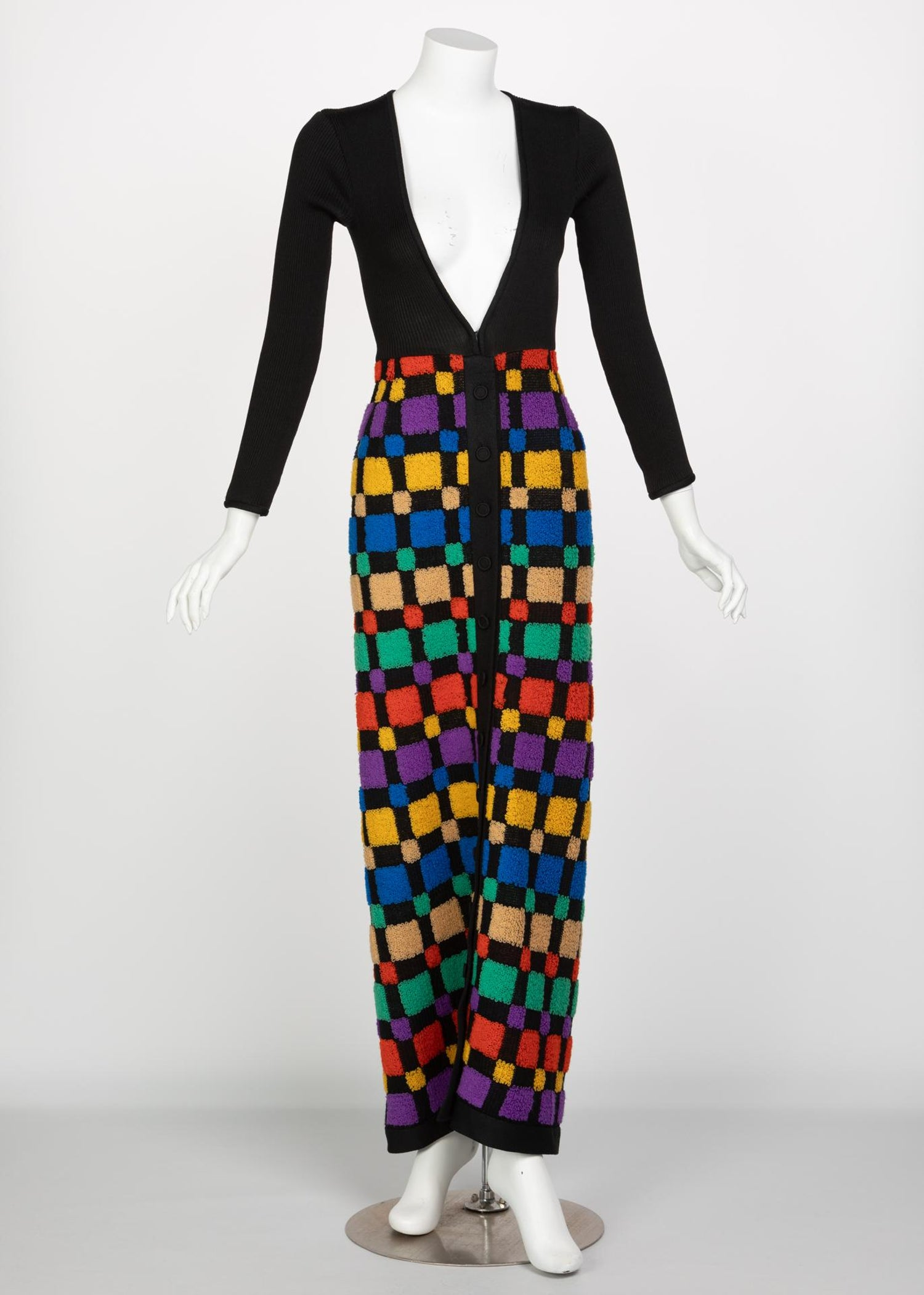 d4128c792068 Vintage Color-Block Maxi Plunge Neck Sweater Dress, 1960s For Sale at  1stdibs