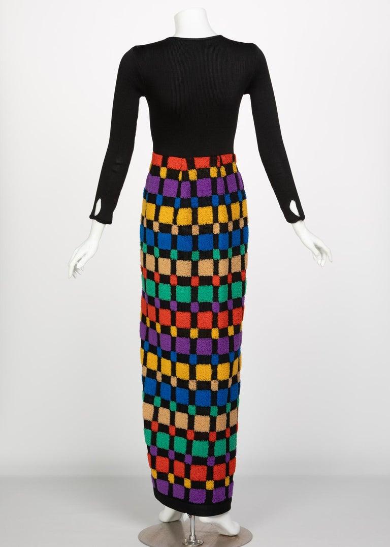 ef5c379458a Women s Vintage Color-Block Maxi Plunge Neck Sweater Dress