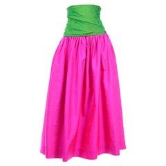 Vintage Color Block Pink and Green Silk Ultra High Waist Long Evening Skirt