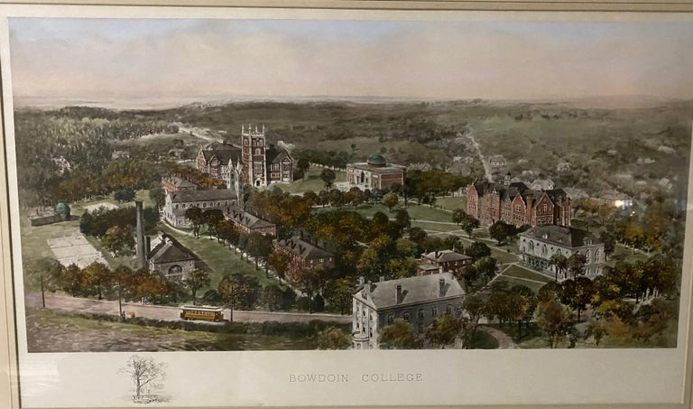 Vintage Color Lithograph of Bowdoin College In Good Condition For Sale In Great Barrington, MA