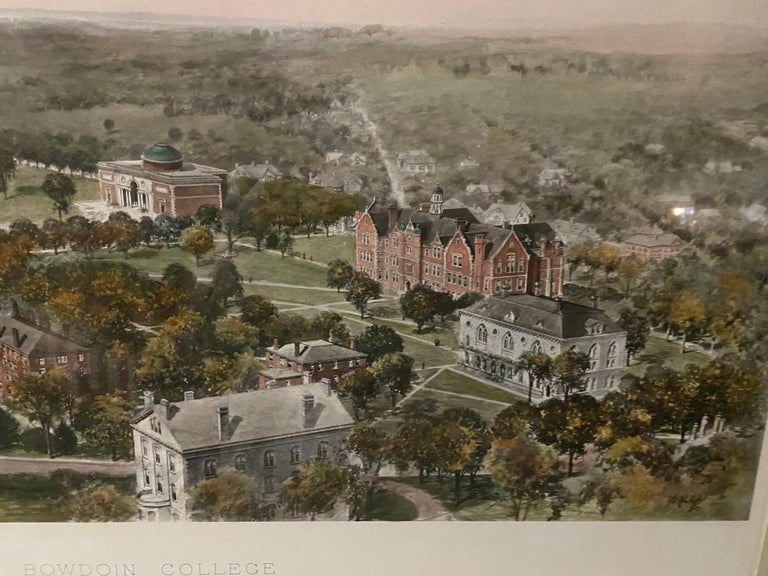 20th Century Vintage Color Lithograph of Bowdoin College For Sale