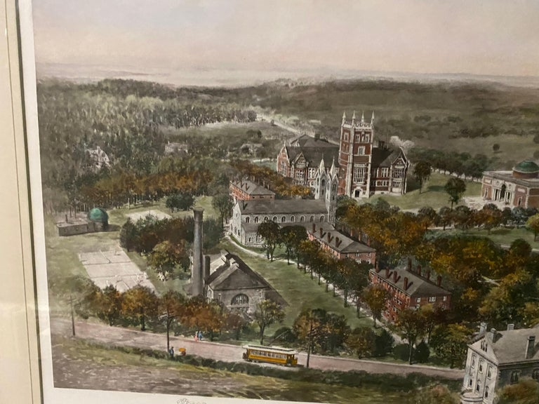 Paper Vintage Color Lithograph of Bowdoin College For Sale