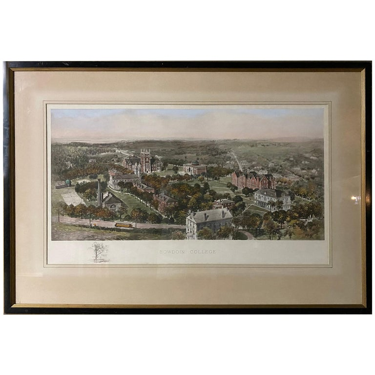 Vintage Color Lithograph of Bowdoin College For Sale