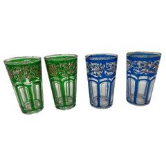 Vintage Colored Glasses with Gold Raised Moorish Design