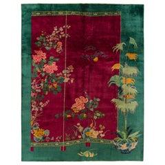 Vintage Colorful Art Deco Chinese Wool Rug