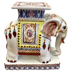 Vintage Colorful Chinese Hand Painted Porcelain Elephant Stool Seat