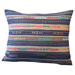 Vintage Colorful Embroidered Indian Silk Decorative Bolster Pillow