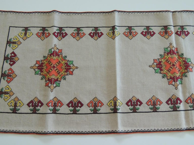 Bohemian Vintage Colorful Embroidered Table Runner Textile For Sale