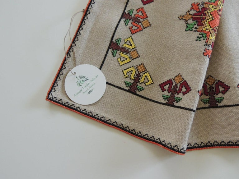 Moroccan Vintage Colorful Embroidered Table Runner Textile For Sale