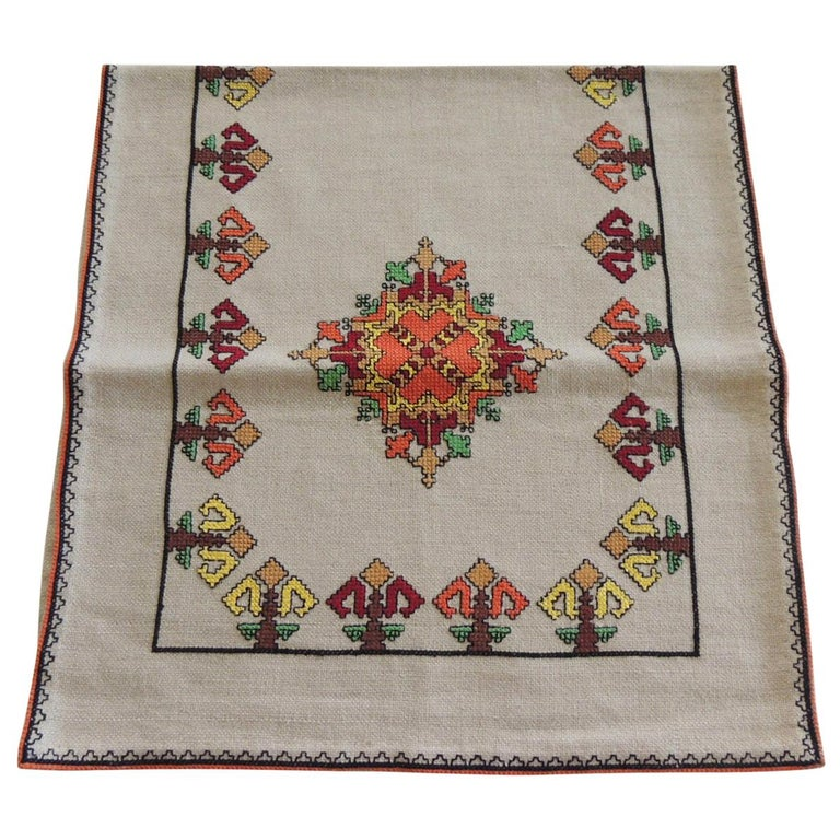 Vintage Colorful Embroidered Table Runner Textile For Sale