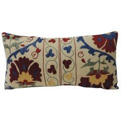 "Vintage Colorful Floral Embroidery ""Suzani"" Decorative Bolster Pillow"