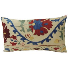 "Vintage Colorful Floral Embroidery ""Suzani"" Decorative Lumbar Pillow"