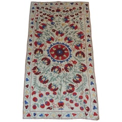 "Vintage Colorful Floral Embroidery ""Suzani"" Panel"