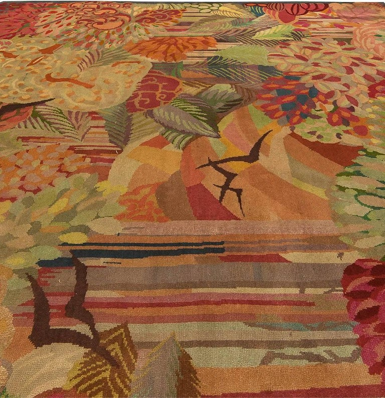 Hand-Knotted Vintage Colorful Floral French Art Deco Handmade Wool Rug For Sale
