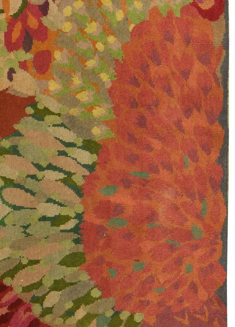20th Century Vintage Colorful Floral French Art Deco Handmade Wool Rug For Sale