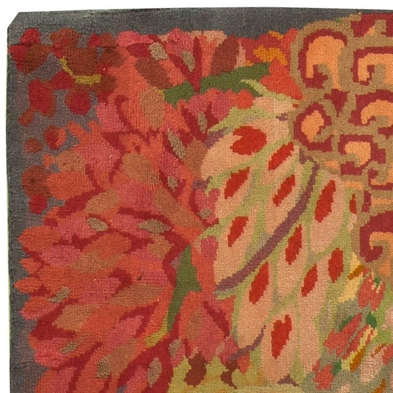 Vintage Colorful Floral French Art Deco Handmade Wool Rug For Sale 1