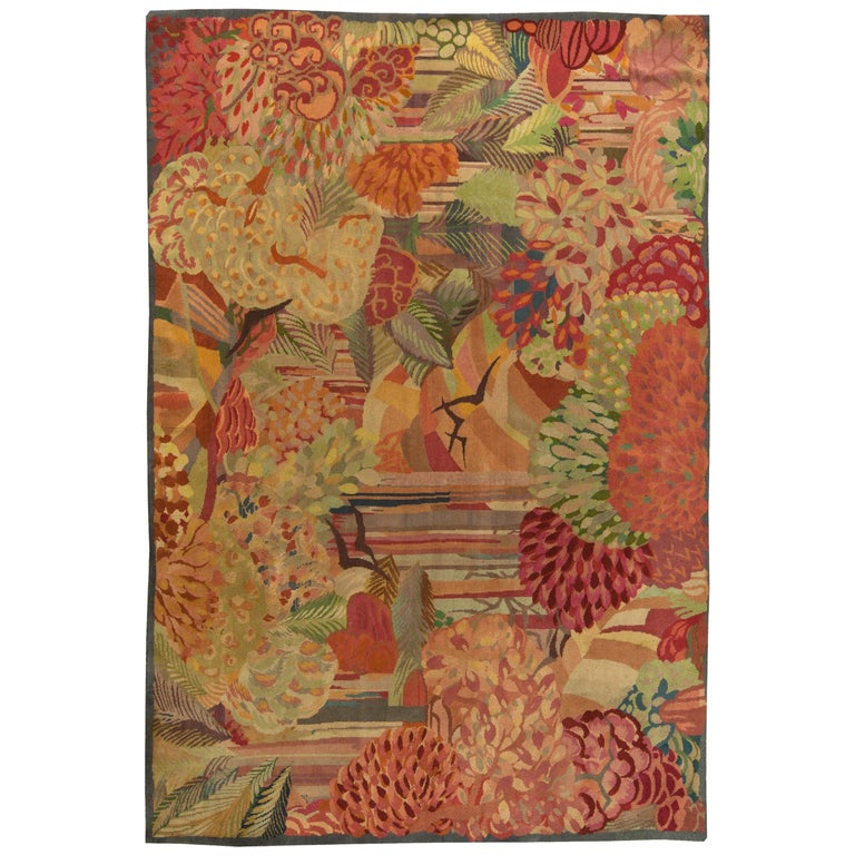 Vintage Colorful Floral French Art Deco Handmade Wool Rug For Sale