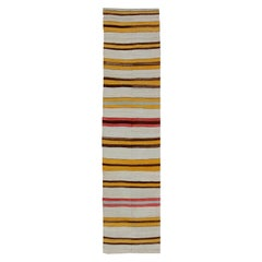 Vintage Colorful Kilim Runner with Stripe Design in Red, Yellow, Ivory and Brown