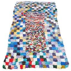 Vintage Colorful Moroccan Boucherouite Rug