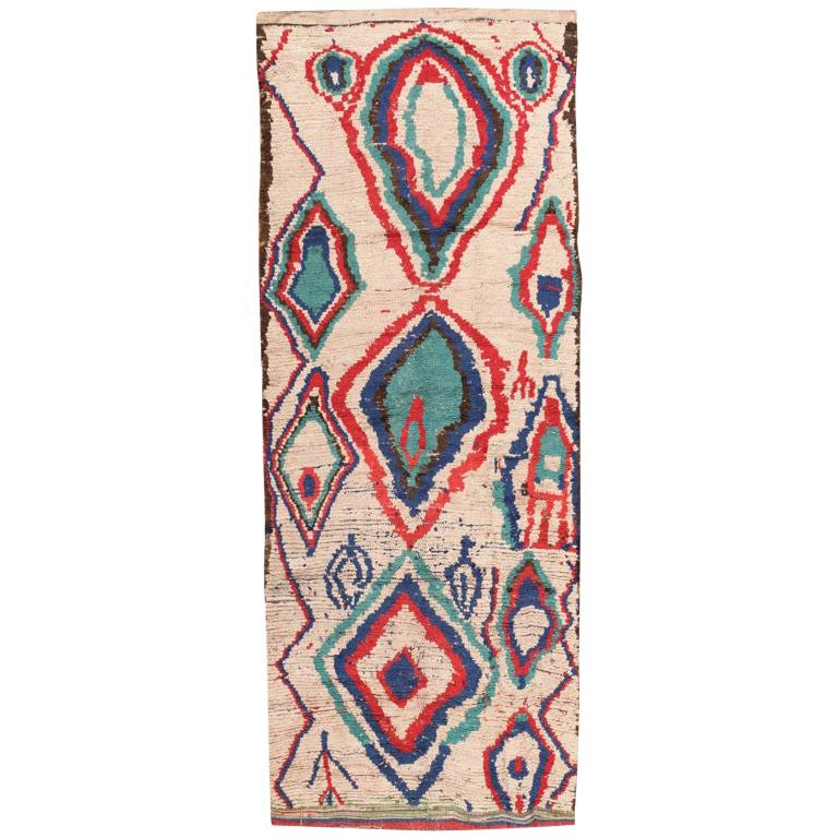 Vintage Colorful Moroccan Rug. Size: 4 ft x 10 ft 4 in (1.22 m x 3.15 m)