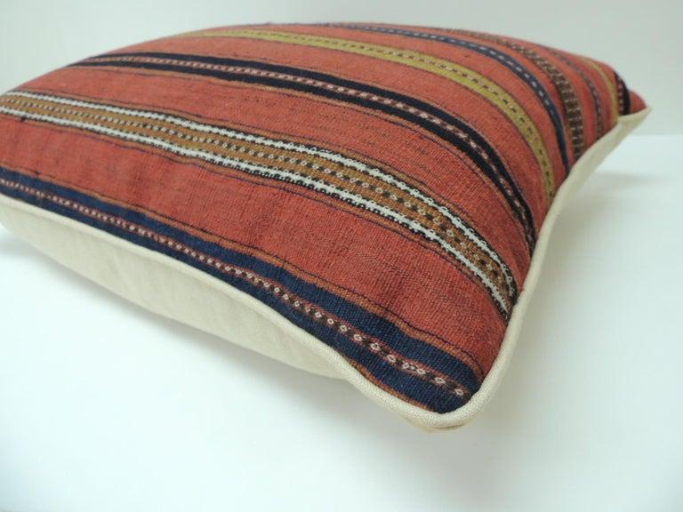 Kilim Vintage Colorful Turkish Stripes Woven Square Decorative Pillow For Sale