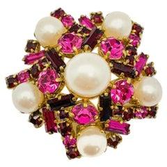 Vintage Colourclash Crystal & Pearl Brooch 1940S