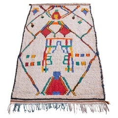 Vintage Colourful Moroccan Azilal Rug